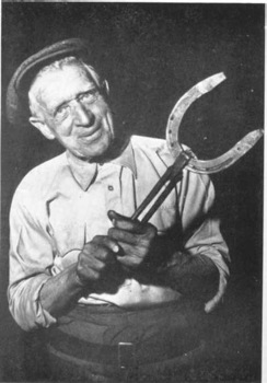 andrew dunbar  blacksmithing at the  age of 80 in 1960